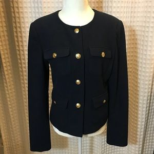 Navy suit jacket with gold buttons size 4 NWOT